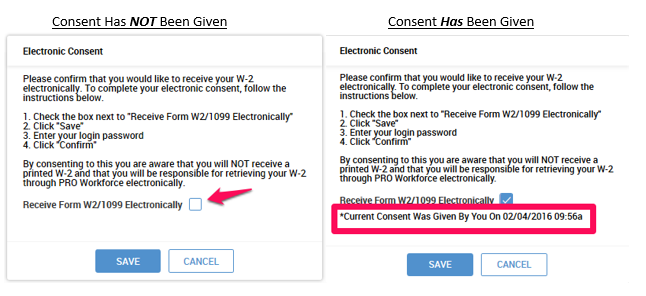Screenshot of electronic consent popup showing the user how to give consent for and receive electronic forms.